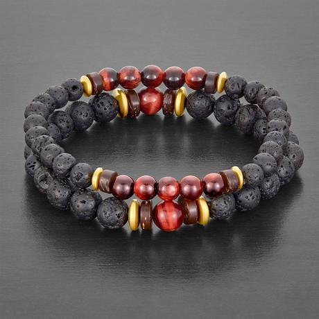 Lava + Hematite Beaded Stretch Bracelet // Set of 2 (Tiger's Eye)
