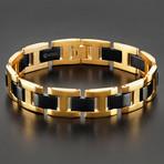 Dual Finish H-Link Bracelet // Black + Gold // Set of 2