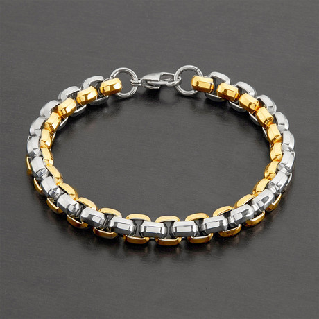 Beveled Box Chain Bracelet // Gold + Silver // Set of 2