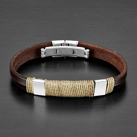 Twisted Rope Bracelet // Brown // Set of 2