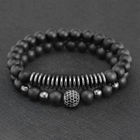 Agate + Hematite Beaded Stretch Bracelet // Set of 2 (Gold)