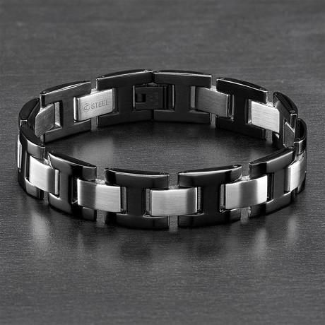 Dual Finish H-Link Bracelet // Black + Silver // Set of 2