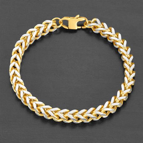 Franco Square Box Chain Bracelet // Gold // Set of 2