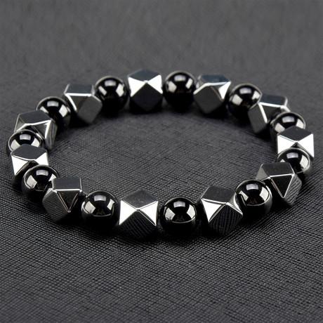 Hematite + Stone Beaded Bracelet // Set of 2 (Gray)