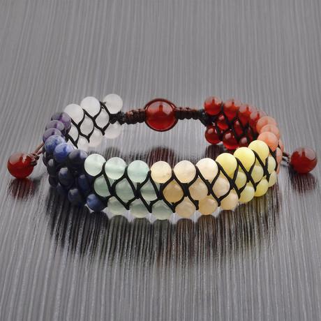 Natural Stones Beaded Adjustable Bracelet // Multicolor // Set of 2