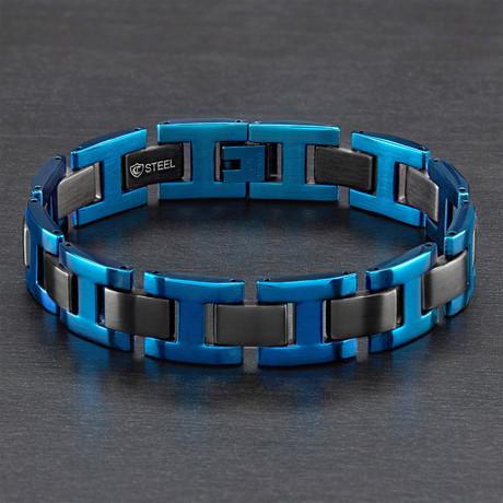 Dual Finish H-Link Bracelet // Blue + Black // Set of 2