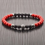 Turquoise + Onyx Beaded Stretch Bracelet // Red + Black + Silver // Set of 2