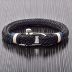 Woven Cord + Screw Clasp Bracelet // Black // Set of 2