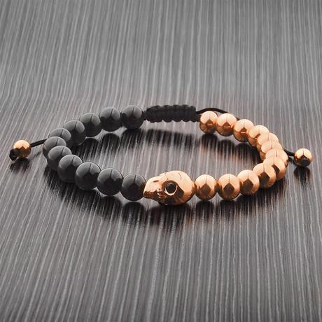 Skull Beaded Adjustable Bracelet // Set of 2 (Gold)
