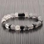 Quartz Stone Beaded Stretch Bracelet // Black + White // Set of 2
