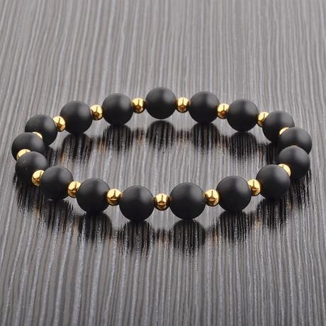 Beaded Stretch Bracelet // Black + Gold // Set of 2