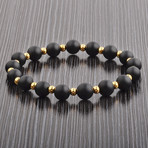 Beaded Stretch Bracelet // Black + Gold // Set of 2