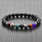 Polished Stones Beaded Stretch Bracelet // Multicolor // Set of 2