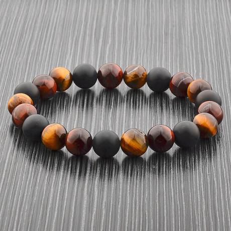 Matte Onyx + Natural Stone Beaded Bracelet // Set of 2 (Red Tiger's Eye)