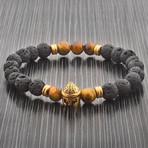 Spartan Helmet Stretch Bracelet // Brown + Black + Gold // Set of 2