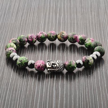 Buddha Beaded Stretch Bracelet // Green + Pink + Gray // Set of 2