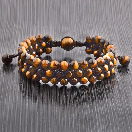 Triple Layer Beaded Adjustable Bracelet // Set of 2 (Lapis Lazuli)