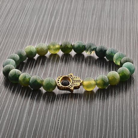 Hamsa Beaded Stretch Bracelet // Green + Gold // Set of 2