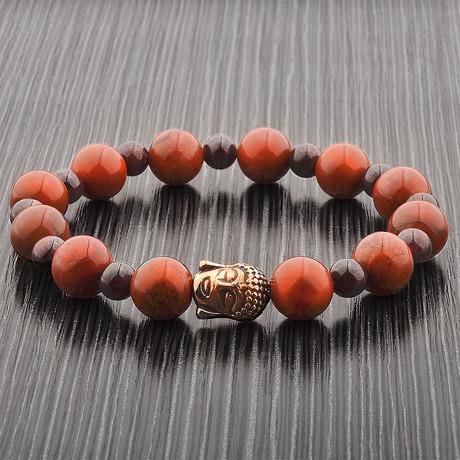 Buddha Beaded Stretch Bracelet // Red + Purple + Gold // Set of 2