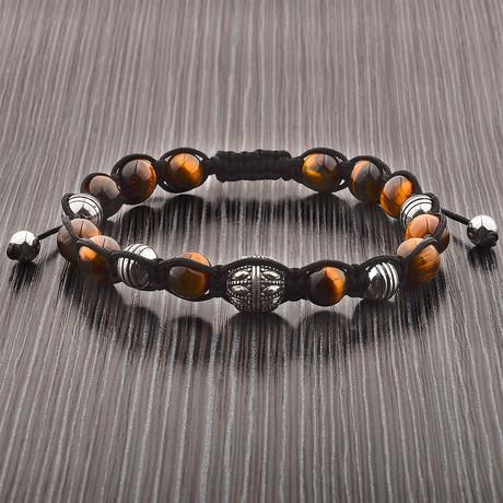 Tiger's Eye Beaded Adjustable Bracelet // Brown + Silver // Set of 2