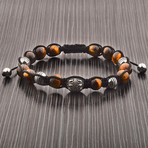 Tiger's Eye Beaded Adjustable Bracelet // Brown + Silver // Set of 2