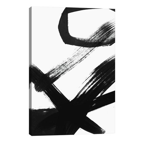"""Black & White Brush Stroke I // Linda Woods (18""""W x 26""""H x 1.5""""D)"""
