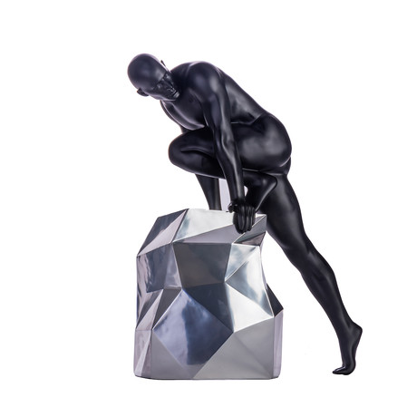 Sensuality Man Sculpture // Matte Black + Chrome