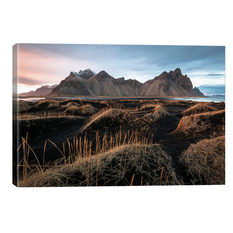 "Vestrahorn Mountain Black Sand Beach // James Vodicka (40""W x 26""H x 1.5""D)"