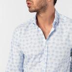 Gavino Button-Up Shirt // White + Baby Blue (XL)