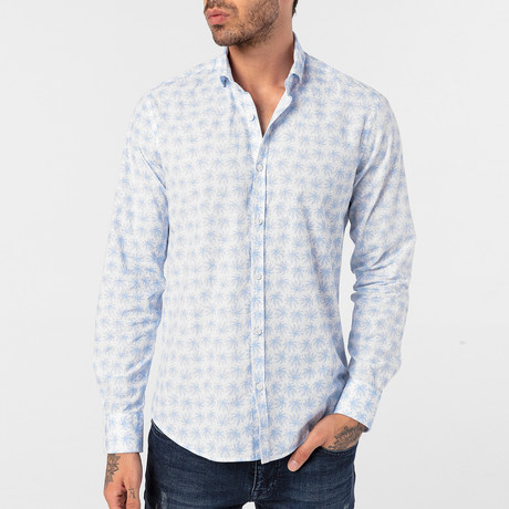 Gavino Button-Up Shirt // White + Baby Blue (S)