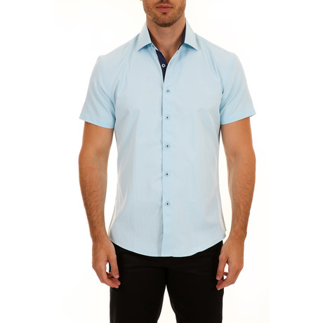 Casey Short-Sleeve Button-Up Shirt // Turquoise (XS)