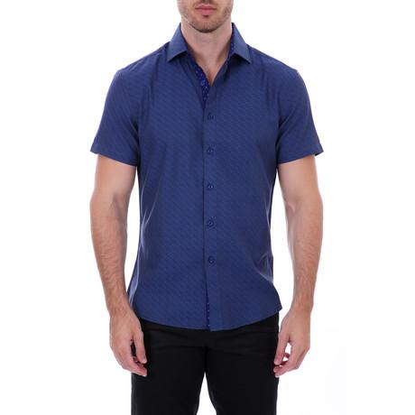 Cooper Short-Sleeve Button-Up Shirt // Navy (XS)