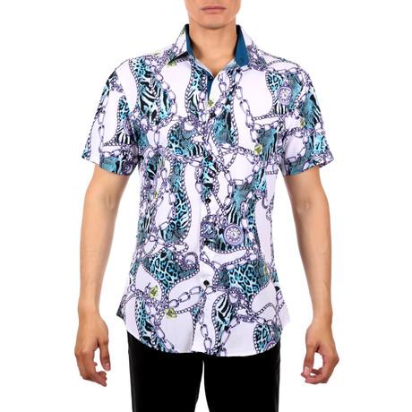 William Short-Sleeve Button-Up Shirt // Green (XS)