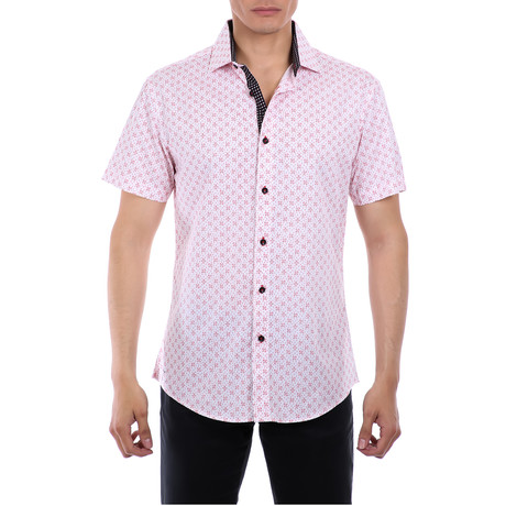 Anthony Short-Sleeve Button-Up Shirt // Red (XS)