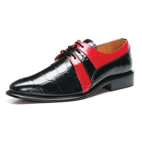 Derby Dress Shoes // Black + Red (US: 6.5)