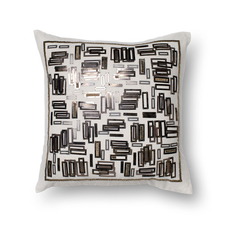 Abstract Rectangles // White + Gold // Pillow (Cover Only)