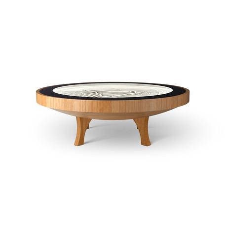 4Ft Hard Wood Coffee Table // Natural White Lights (Maple Veneer)