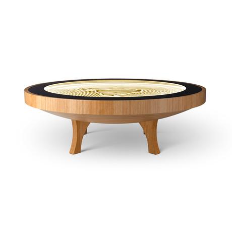 4Ft Hard Wood Coffee Table // Warm White Lights (Mahogany Veneer)