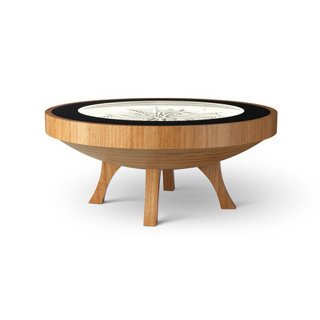 3Ft Hard Wood Coffee Table // Natural White Lights (Mahogany Veneer)