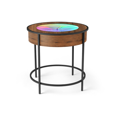 Black Metal Side Table // Wood Veneer (Walnut Veneer)