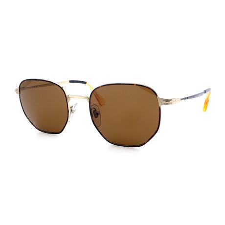 Persol // Men's PO2446S-107557 Polarized Sunglasses // Gold + Havana