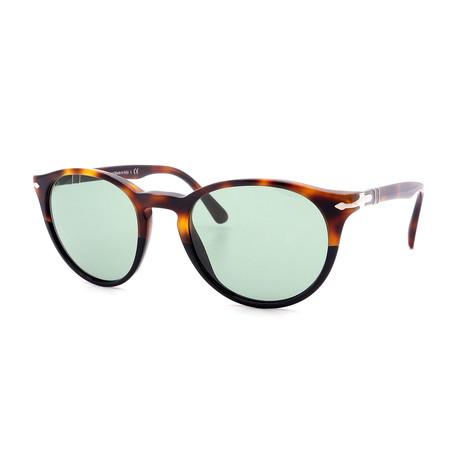 Persol // Men's PO3152S-905552 Round Sunglasses // Tortoise + Green