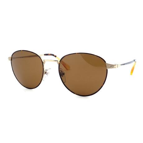Persol // Men's PO2445S-107557 Round Polarized Sunglasses // Gold + Havana
