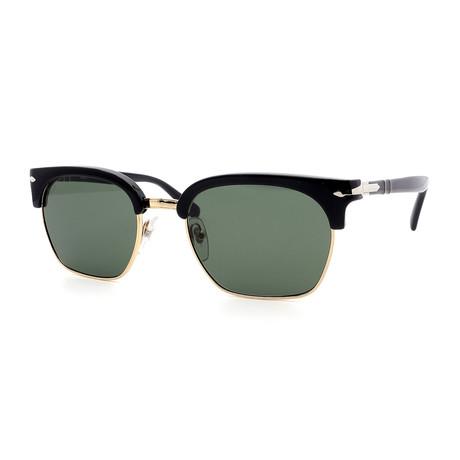 Persol // Men's Clubmaster PO3199S-95-31 Sunglasses // Black + Green