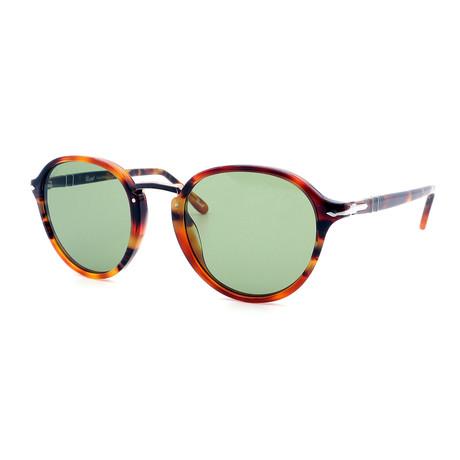 Persol // Men's PO3184S-108252 Round Sunglasses // Light Tortoise + Green