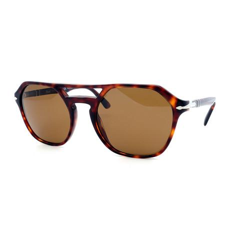Persol // Men's PO3206S-24-57 Polarized Sunglasses // Dark Havana + Brown