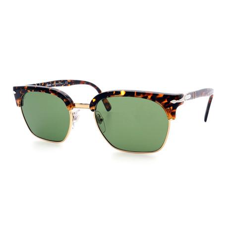 Persol // Men's Clubmaster PO3199S-108152 Sunglasses // Tortoise + Green