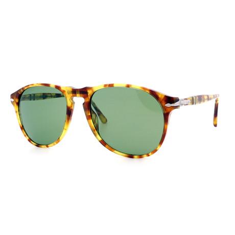 Persol // Men's Iconic PO6649S-10614E Sunglasses // Light Tortoise + Retro Green