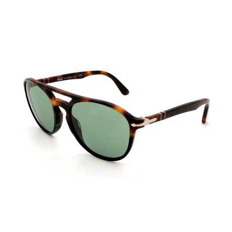 Persol // Men's PO3170S-905552 Round Double Bridge Sunglasses // Tortoise + Green