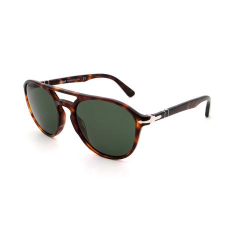 Persol // Men's PO3170S-901531 Round Double Bridge Sunglasses // Tortoise + Gray